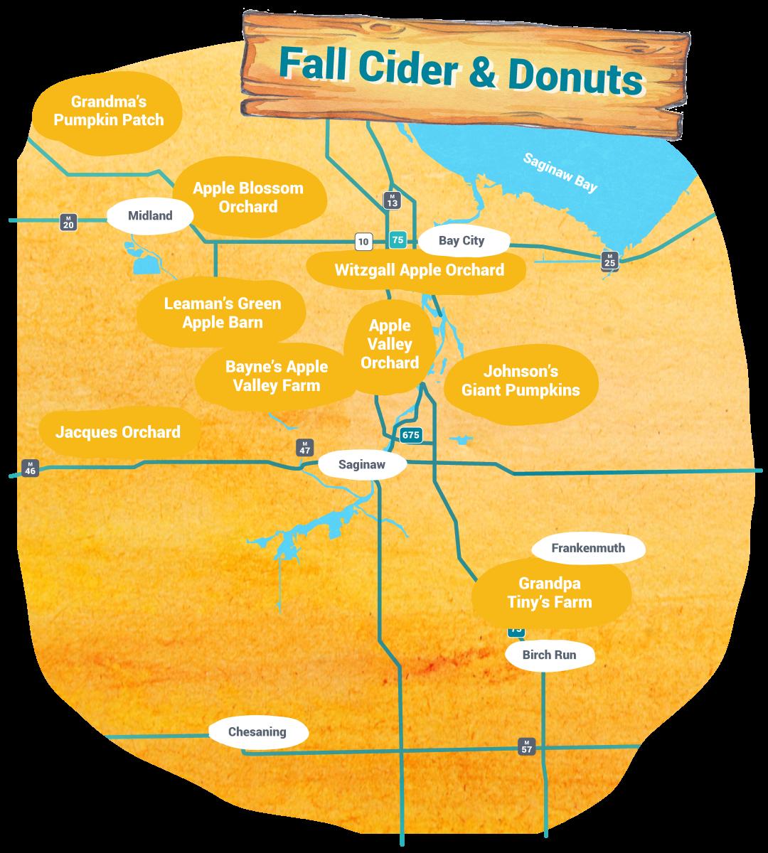 自助旅游-秋季苹果酒和甜甜圈地图