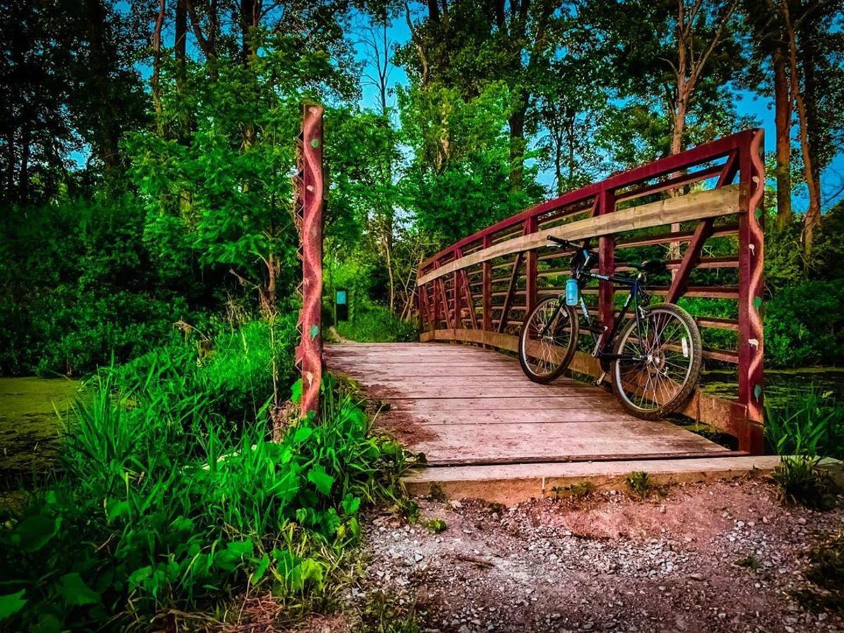 在萨吉诺的Shiawasse国家野生动物保护区内,自行车靠在Bullhead溪上的一座桥上