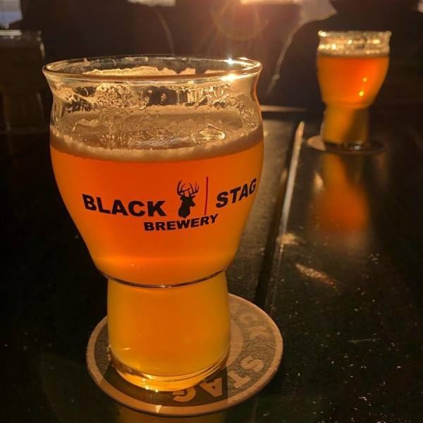 Black Stag branded glass of beer