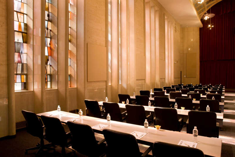 Stained Glass Hall Meeting Setting