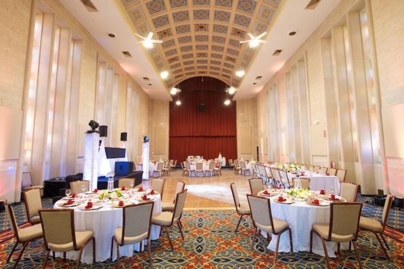 Stainglass Hall Wedding Reception Setup