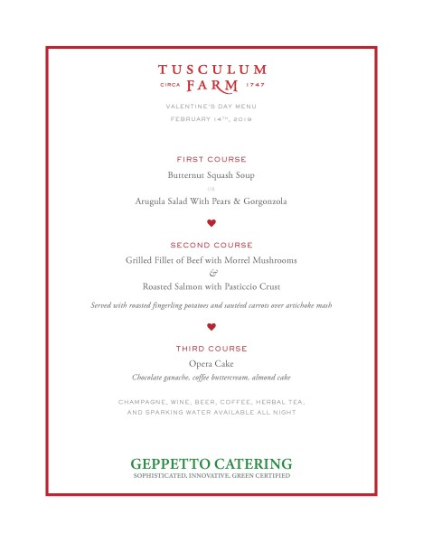 Menu for Valentine's Day at The Farm