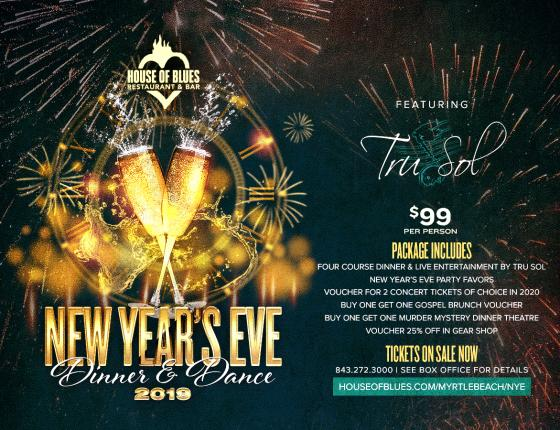 New Year's Eve Dinner & Dance 2019 Featuring Tru Sol at House of Blues
