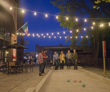 Playing Bocce Ball at Goodfellas in the Distillery District