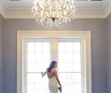 Bride in window