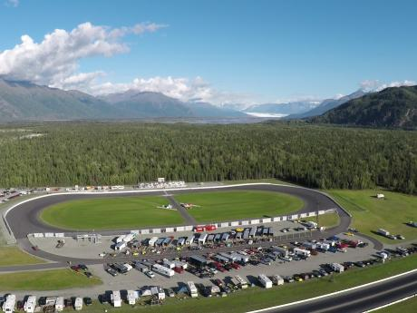 Alaska Raceway Park nestled between Lazy Mountain and Pioneer Peak