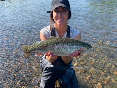 Another big rainbow caught on a fly rod