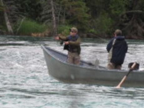 Drift boat fishing on the Kenai