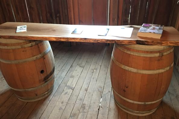 Live Edge Bar with Barrel Base