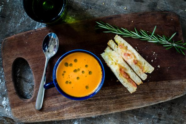 Smoky Tomato Bisque and Great Falls Grilled Cheese