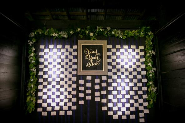 A custom designed escort card display