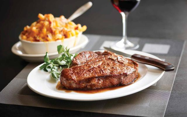 Morton's The Steakhouse - steak with baked macarroni and cheese