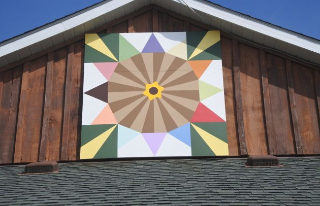 Broom's Bloom Barn Quilt Close-up