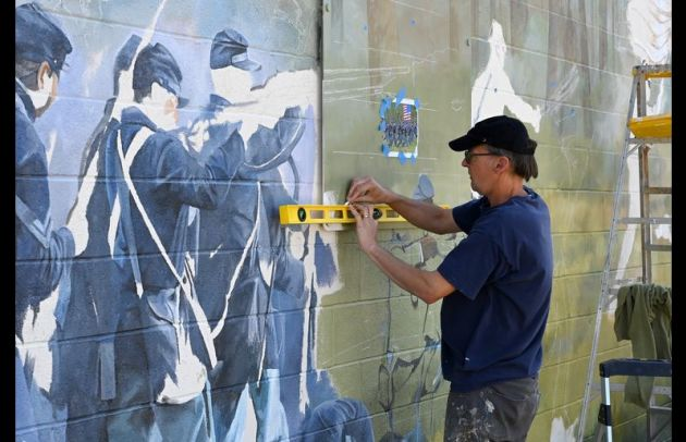 Mural being painted
