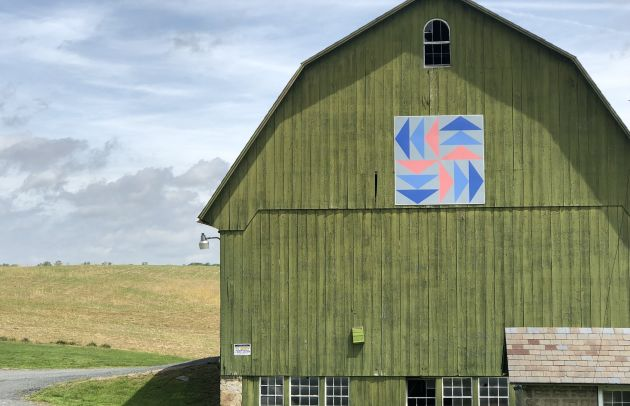Edgeley Grove Farm Barn Quilt on Building