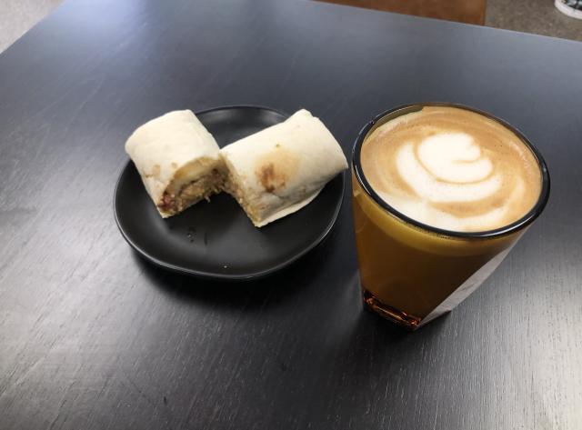 Vanilla Lavender Latte with Bacon Breakfast Burrito