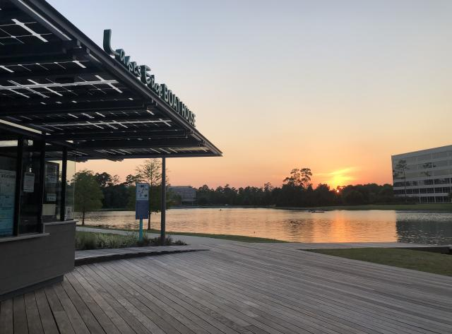 Lakes Edge Boat House at Sunset