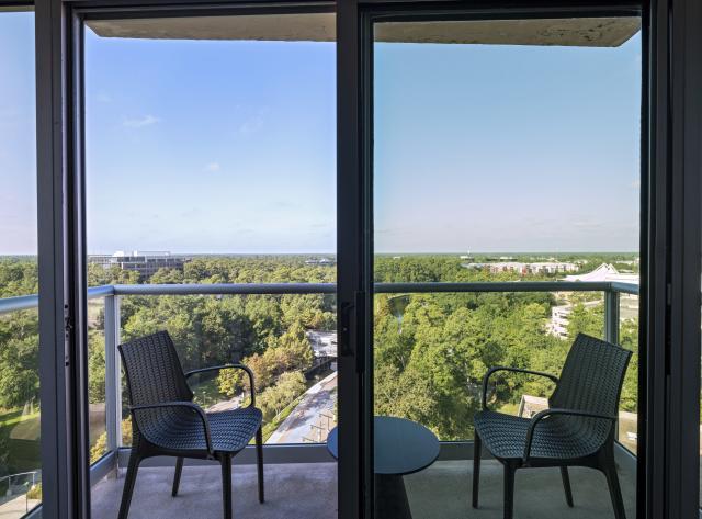 The Woodlands Waterway Marriott King Suite Balcony View