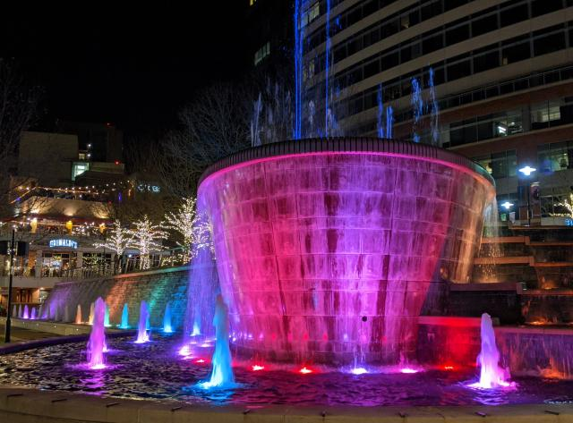 Fountains at Waterway Square at Night