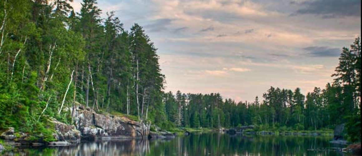 Canoe on a rocky shore