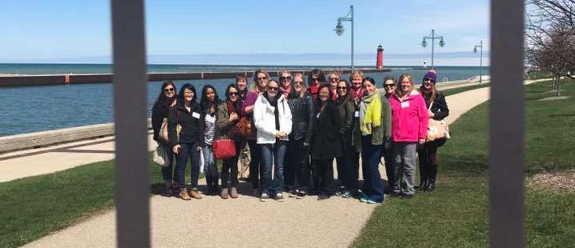 Lake Michigan, group next to harbor