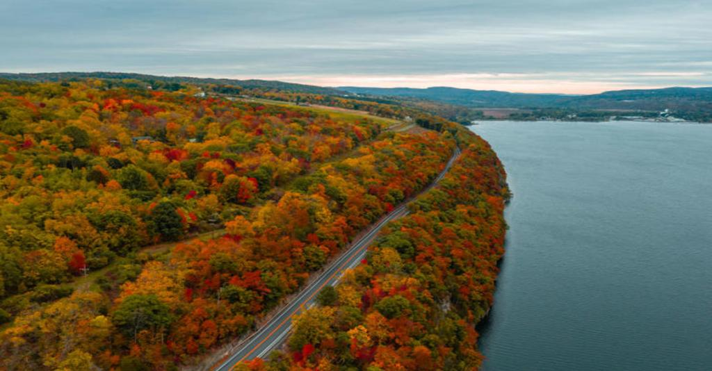 Seneca Lake Scenic Byway - Fall Aerial