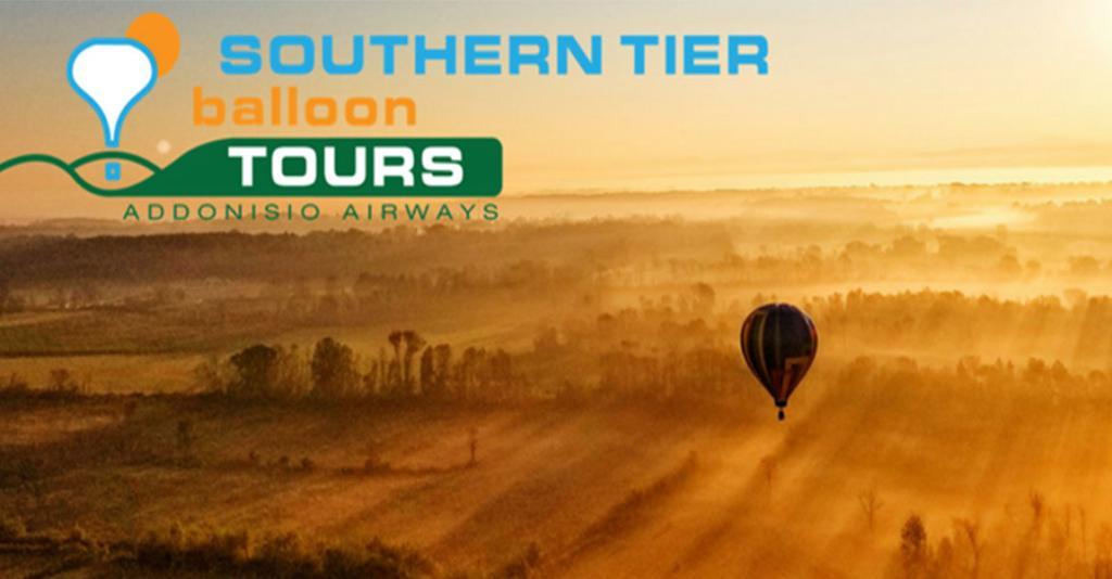 Southern Tier Balloon Tours - Hot Air Balloon at Sunset Logo Banner