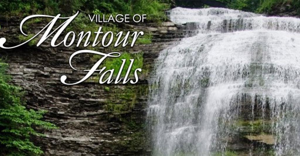 Village of Montour Falls - Logo Banner with Waterfall
