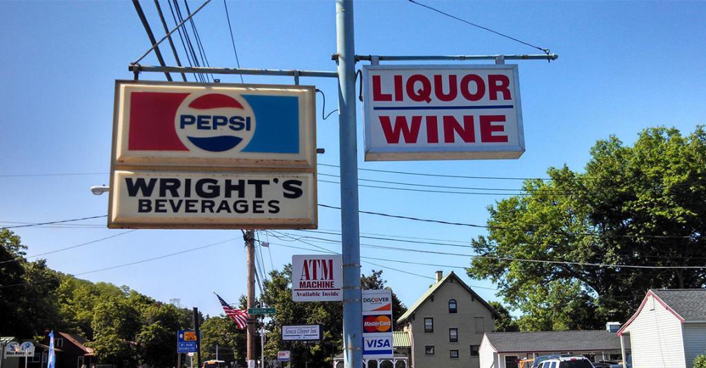 Wright's Beverages - Roadside Sign