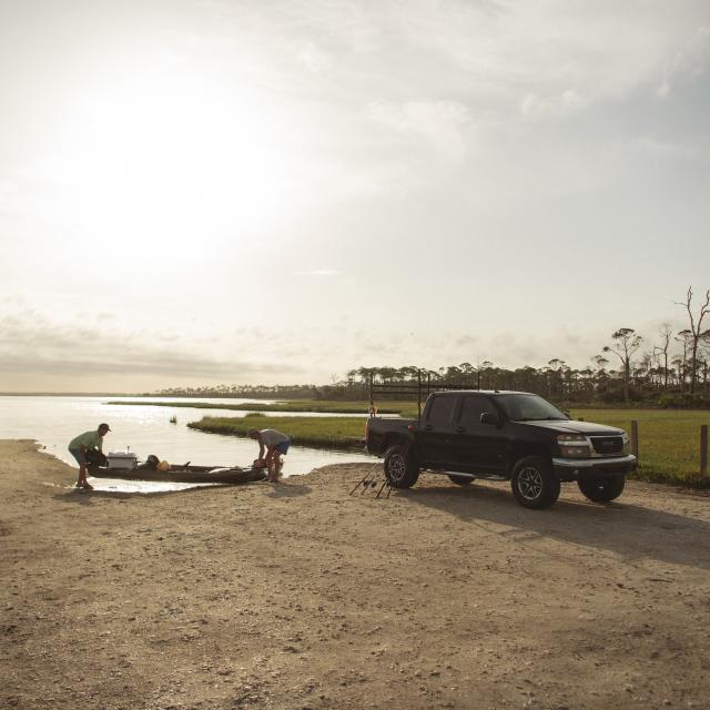 Troy Deal, boys launching Kayak
