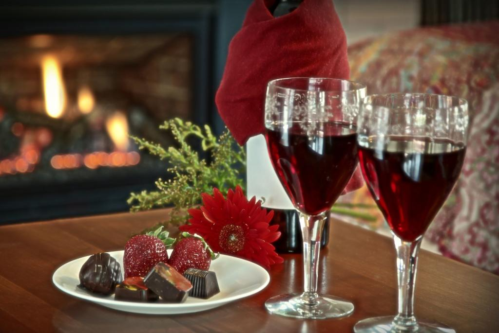 Complimentary Wine and Chocolates by the Fireplace