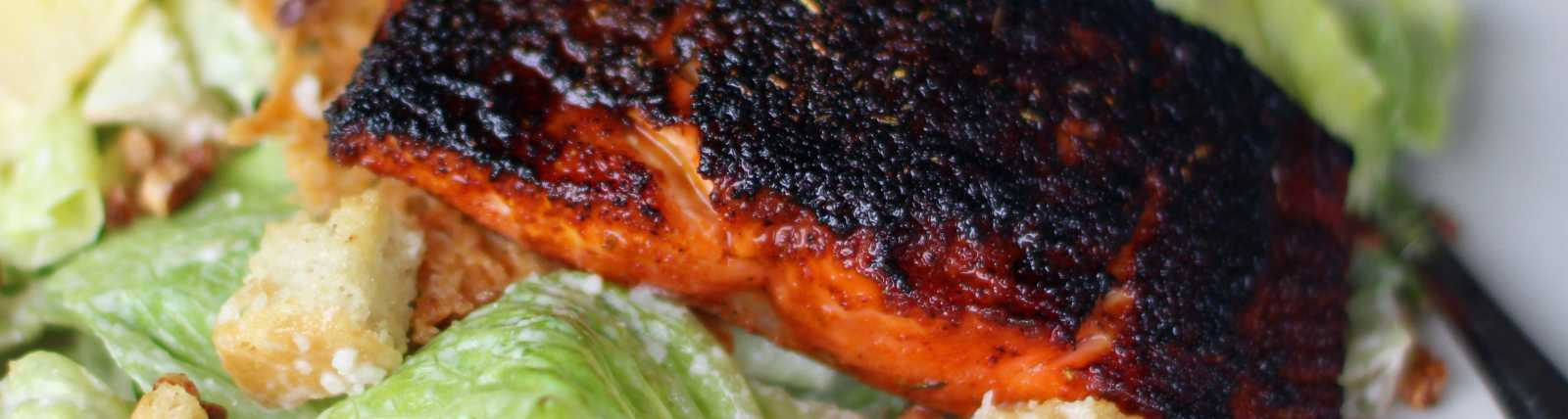 Blackened Salmon on Caesar by Celeste Stubner