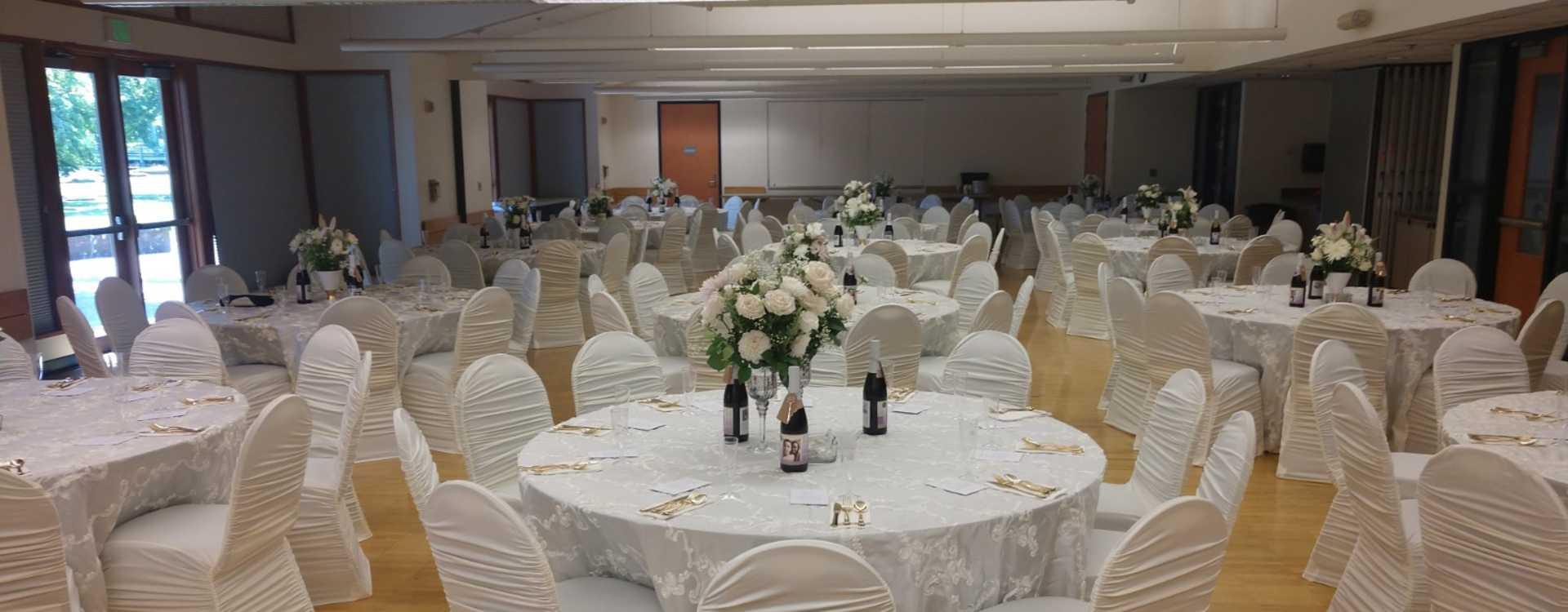 Banquet setup at a social or wedding event at Tukwila Community Center
