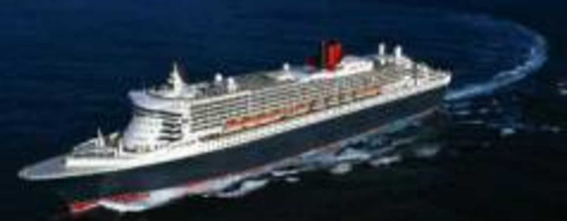 Cruise Ship Sailing Through Blue Water