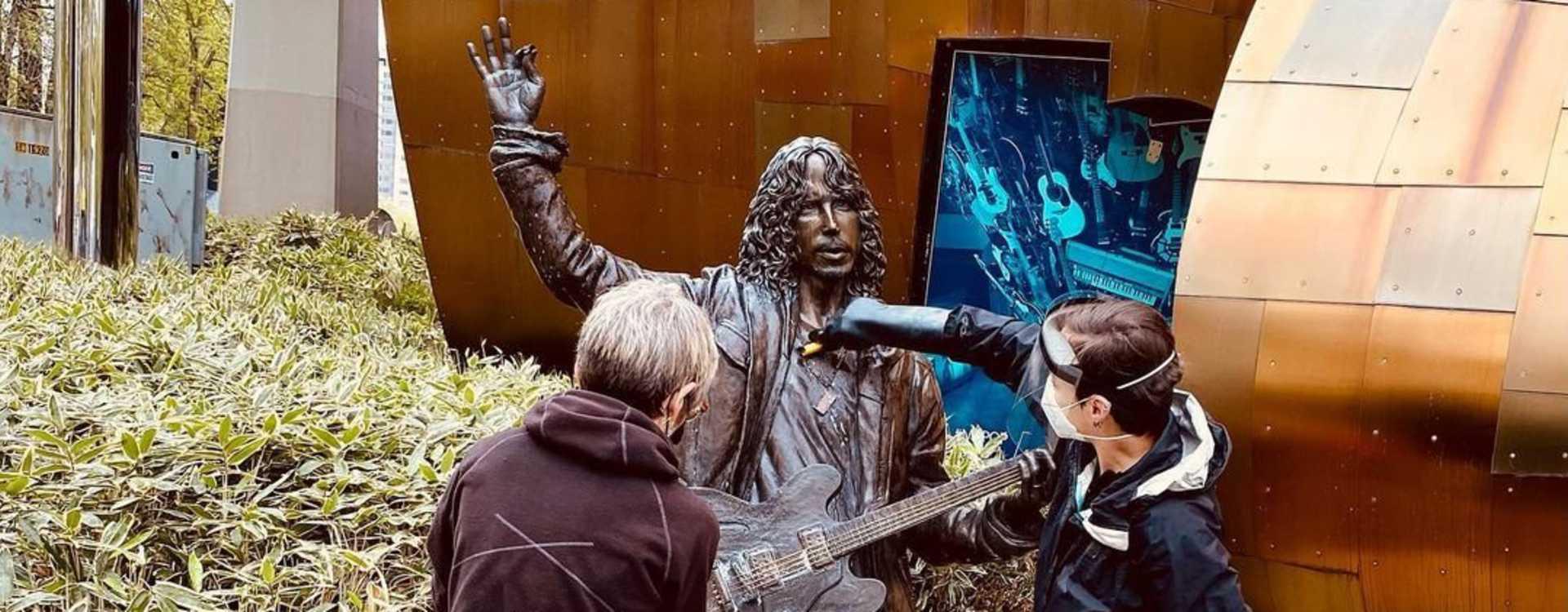 Soundgarden frontman Chris Cornell Rock Star Statue outside MoPop in Seattle