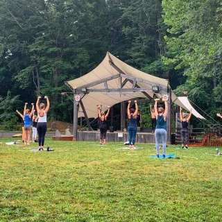 Yoga in the Meadow at Highland Brewing