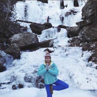 Winter Waterfall Yoga Hike