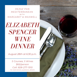 Elizabeth Spencer Wine Dinner at Rezaz
