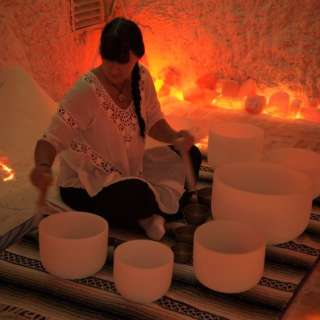 Crystal Singing Bowl Meditation in our Himalayan Salt Therapy Cave at The Salt Spa of Asheville