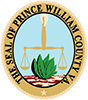 Official Prince William County Virginia Seal with a hand, holding scales of judgement, and a tobacco leaf.