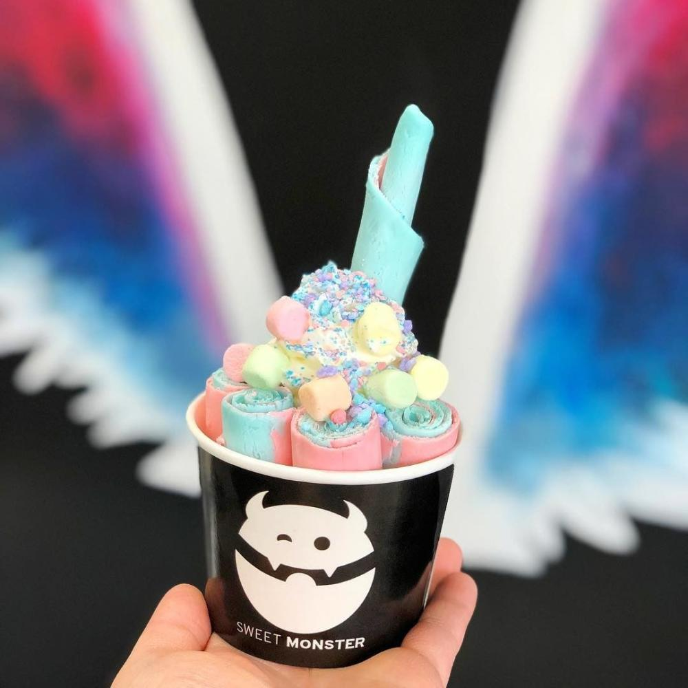 A cup of Sweet Monster Thai Rolled Ice Cream in Fort Wayne
