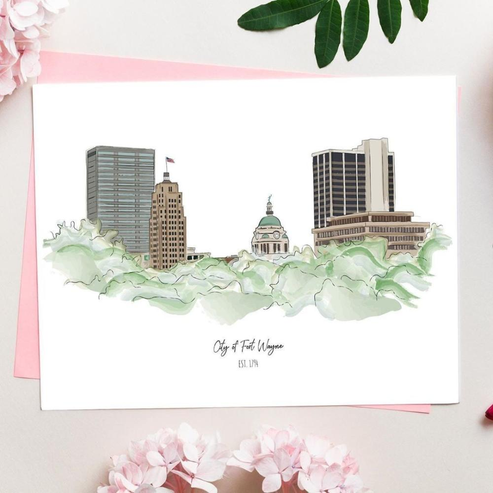 Fort Wayne Skyline Print from VimAnnVigor Design