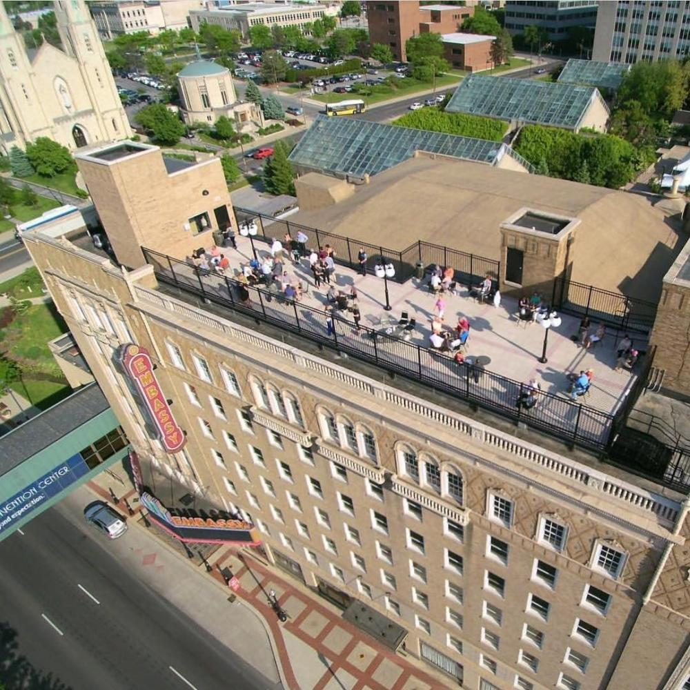 Drone view of Embassy Theatre rooftop during Summer Night at the Embassy
