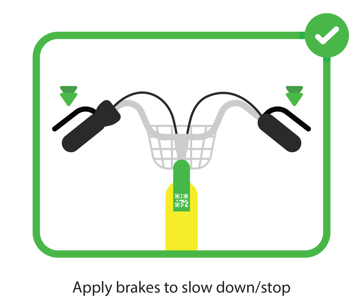 Apply brakes to slow down/stop your electric scooters