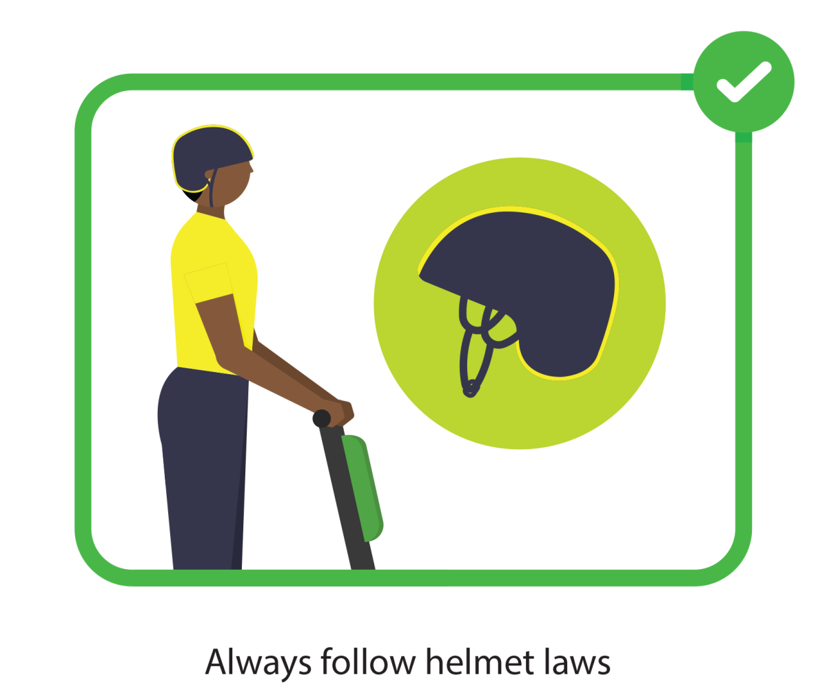 Always follow helmet laws while using an electric scooter