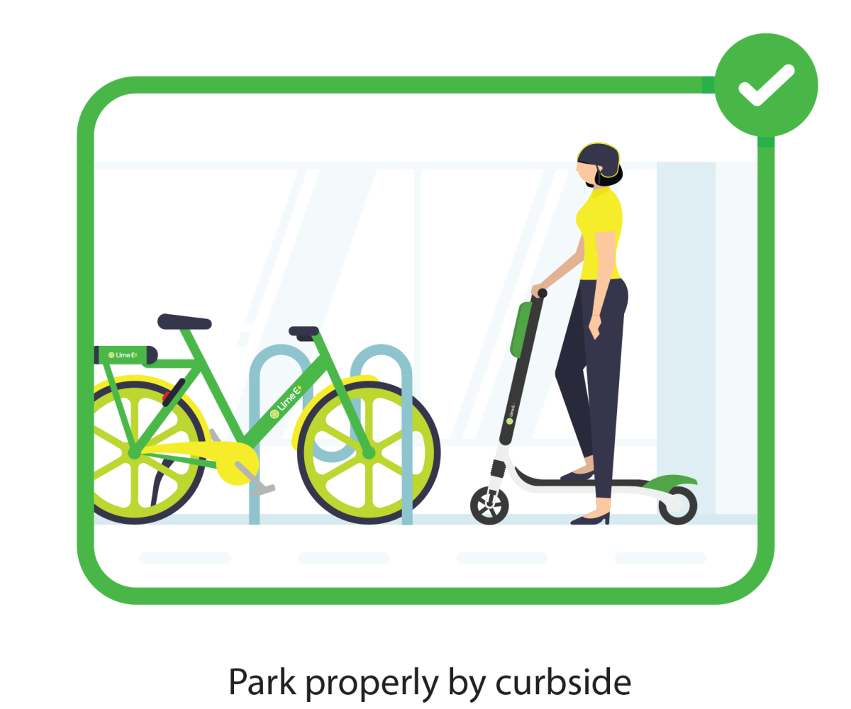 Park your electric scooter properly by curbside