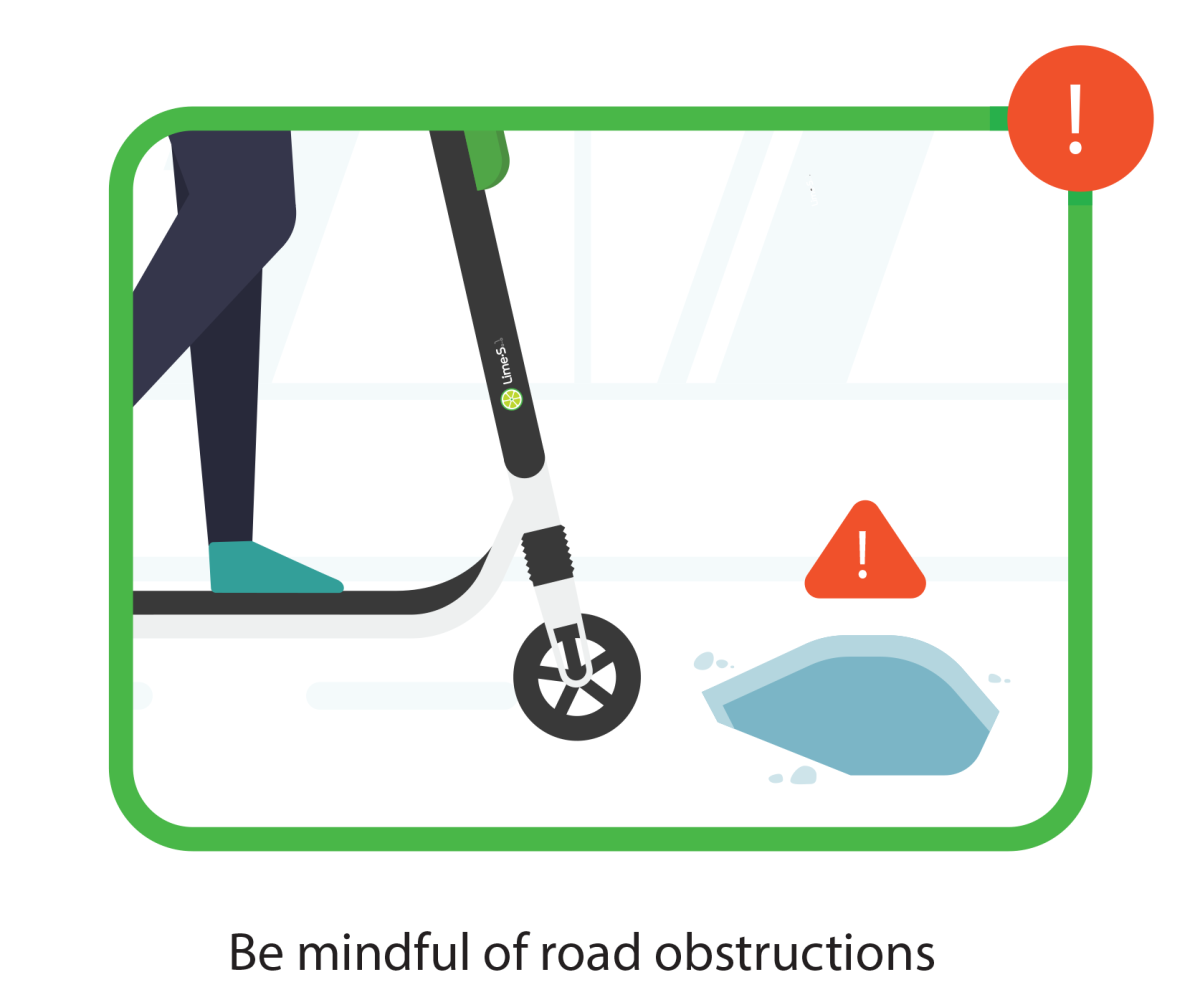 Be mindful of road obstructions while using electric scooters