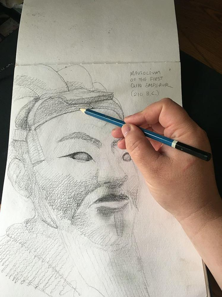 A pencil sketch of a samurai warrior as part of Princeton's online art classes