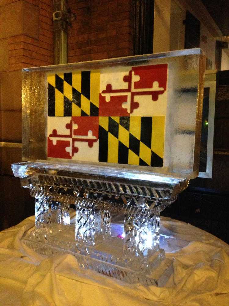 Fire and Ice Event Ice Sculpture with Maryland State Flag