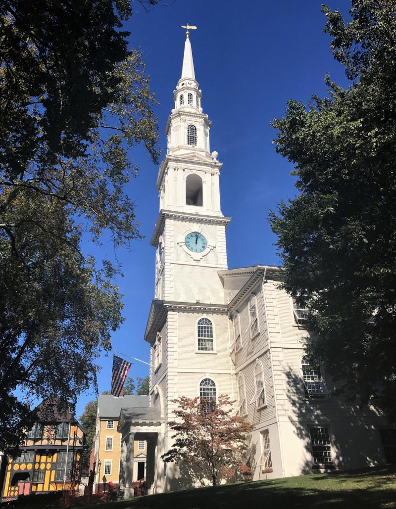 The First Baptist Church in America was established by Roger Williams in 1638 and the Meeting House was erected in 1775 on College Hill in downtown Providence.